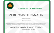 Zero Waste Membership Certificate