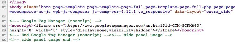 Backup GTM code