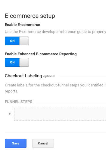 Ecommerce Toggle in Google Analytics