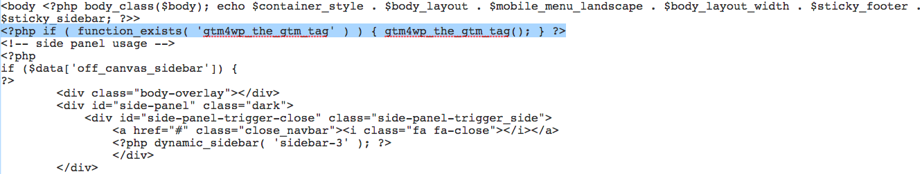 GTM container Code example