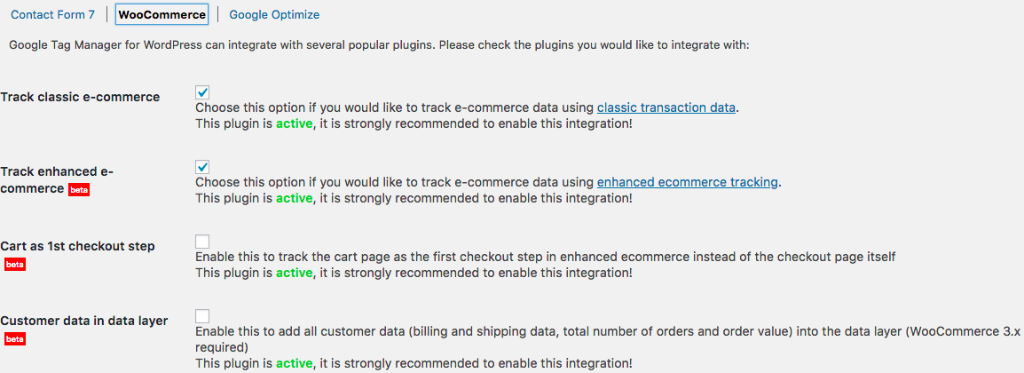 GTM for WordPress WooCommerce Integration
