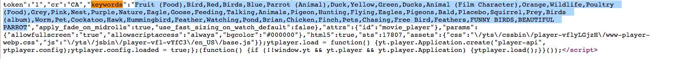 YouTube Keywords - source code